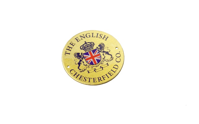 The English Chesterfield Co. Stainless Steel Label