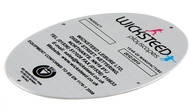 Example oval shaped aluminium label