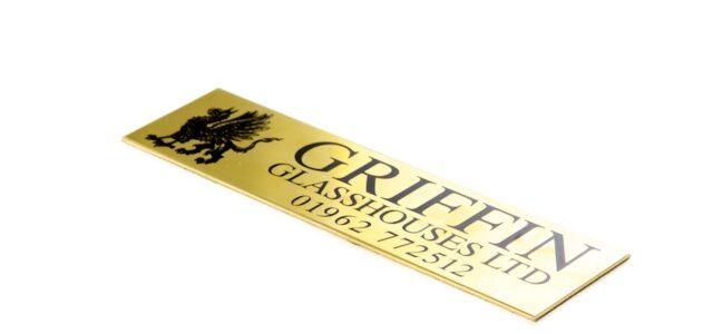 Brass nameplate for Griffin Glasshouses Ltd