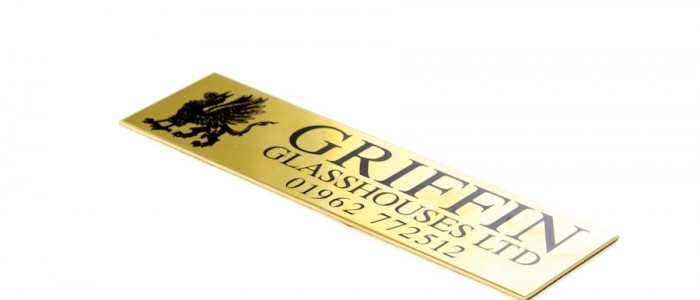 Brass nameplate for Griffin Glasshouses Ltd