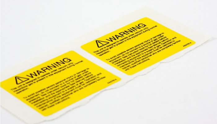 Yellow warning label