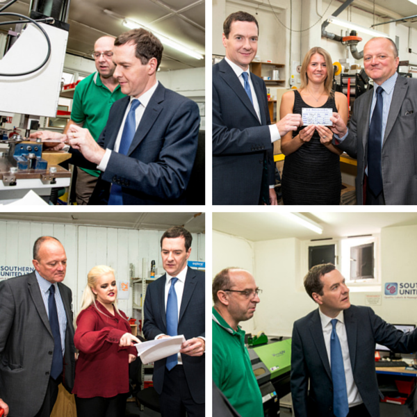 Four images of George Osborne meeting Southern United staff