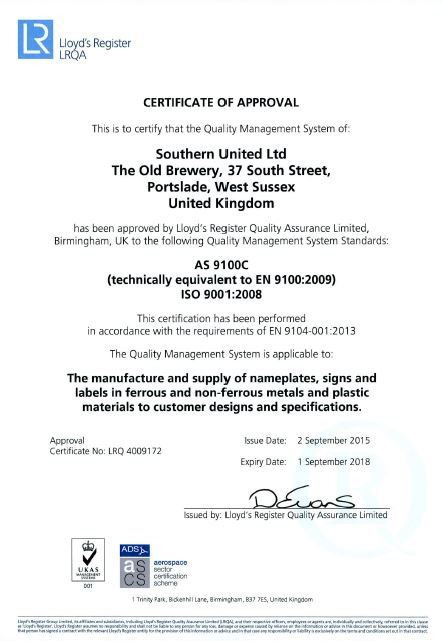 Southern United Ltd awarded the AS9100 certification | Southern ...