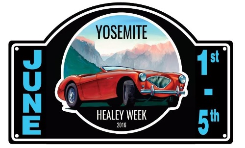 Yosemite Car Rally badge for Healey week June 2016