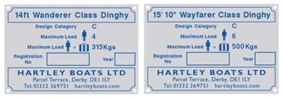 2 Hartley Boats metal nameplates providing dinghy information