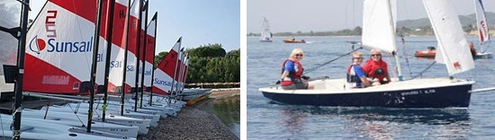 Side by side images of boats and people sailing