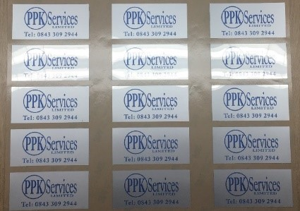 A sheet of polyester labels made for PPK Services by Southern United