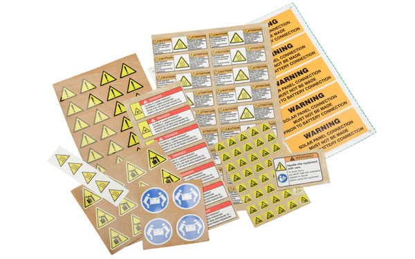 A variety of warning labels